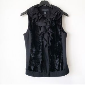 Alfani Black Ruffled Faux Fur Vest Size Medium